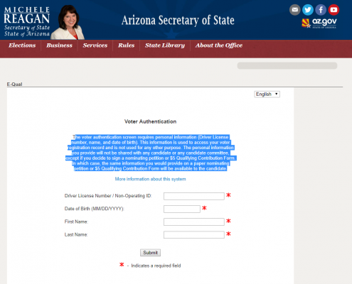 Secretary of State Voter Authentication Form