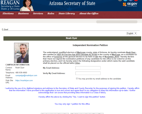 Secretary of State Online Petition